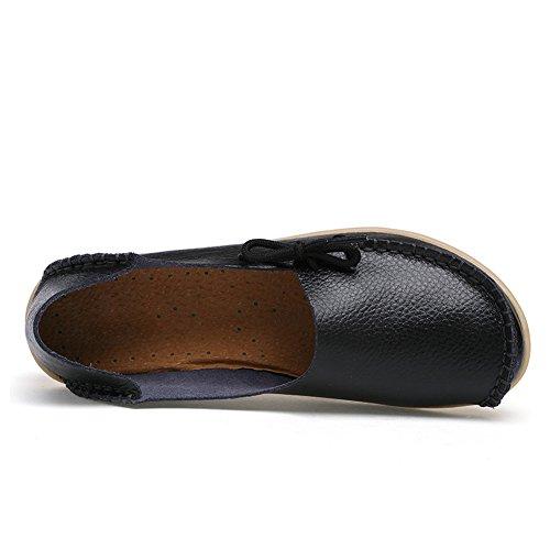 Blivener Casual Schoenen Voor Dames, Koeienhuid Instappers Met Antislip-slipjes Zwart