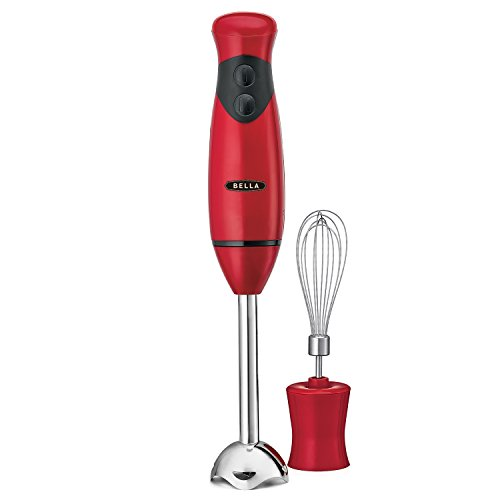 BELLA 14460 Hand Immersion Blender with Whisk Attachment, 250 Watt, Red