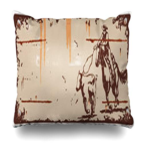 ArtsDecor Throw Pillow Covers Rope Horse Vintage Rodeo Cowboy Roping Calf Sports Recreation Western Wood Drawing Cow Home Decor Cushion Square Size 18