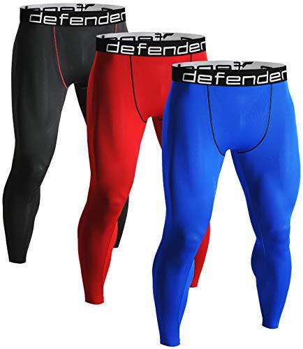 (Defender Men's 3Pack Sports Compression Pants Under Jerseys Tights Shorts Fits Football BRBLRE_L )