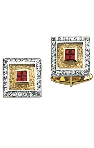 (14K Yellow Gold Square Diamond Cufflinks With 4 Princess Cut Rubies In Center-86301)