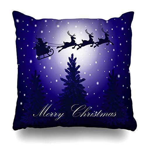 (Ahawoso Throw Pillow Cover Winter Celebration Santa Claus Rides Reindeer Sleigh Moonlit Holidays Christmas Deer Merry Moon Decorative Zipper Cushion Case Square 20