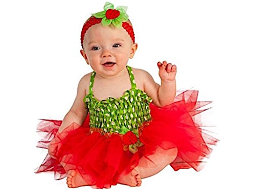 Infant Strawberry Halloween Costume Dress, Headpiece, and Diaper Cover Size 6-12m