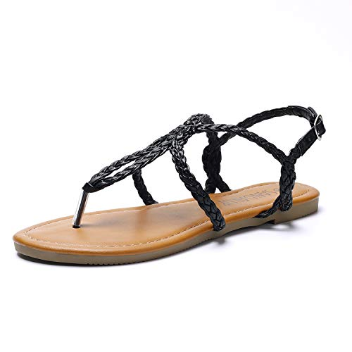 SANDALUP Women's Braided Strap Thong Flat Sandals Black -