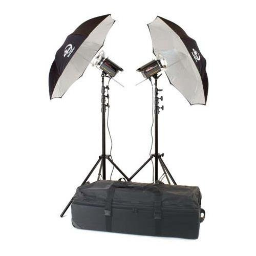Photogenic PLR150K Radio Solair Kit with 2 PLR500DRC 500ws Radio Solar Powerlights with Built-in Radio Receiver, with Stands, Umbrellas & Case, Transmitter not included. (PLR150K)