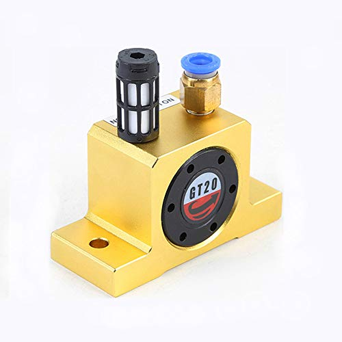 (Pneumatic Turbine Vibrators, Silent Industrial Vibrator with Free Muffler for Hopper - GT-20 / G 1/4, Golden)