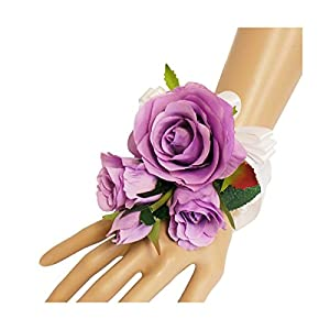 Wrist Corsage(XLWC003-RSLV)-Beautiful Quality Keepsake Wrist corsage-roses and pearl bracelet (Lavender) 31