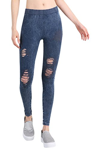 Denim Vintage Leggings (Nikibiki Womens Seamless Vintage Destroyed Modal Jeggings One Size Vintage Denim Blue)