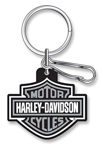Harley-Davidson Classic Bar & Shield Key Chain with Key Ring & Clip, Gray 4496