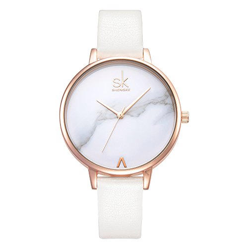 (Women Watches Leather Band Luxury Quartz Watches Girls Ladies Wristwatch Relogio Feminino (K0039-White))
