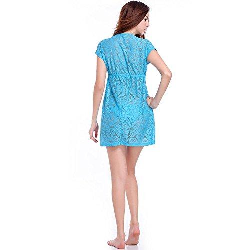 SHISHANG playa de las mujeres de la falda Europa y los Estados Unidos fue de verano fina nueva tendencia flores de gancho hueco bordado playa de la falda de la blusa del bikini multicolor Blue