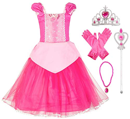 Okidokiyo Little Girls Princess Aurora Costume Halloween Party Dress Up (Toddler Pink with Accessories, 2T) -