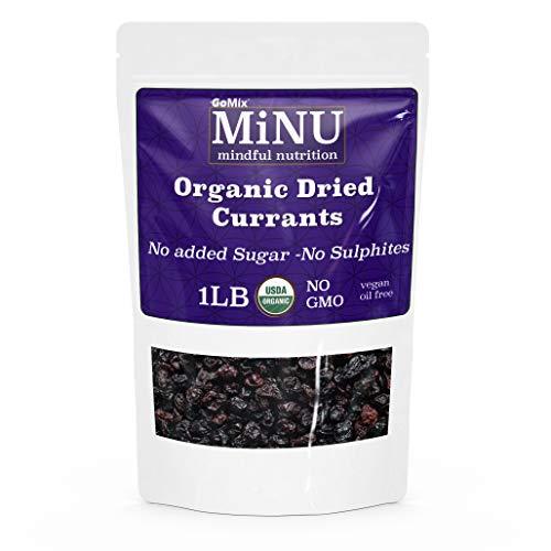 GoMix Organic Raw Zante Currants (16 oz (1 lb) #1 Paleo snack Seedless, MiNU Mindful Nutrition, No Sulfur, No Added Sugar, Dried, Superfood, Raw, Paleo, Vegan, NonGMO, Gluten Free