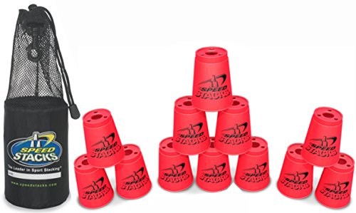"Set of 12 Speed Stacks Competition 4"" Neon PINK Cups with Carrying Bag"