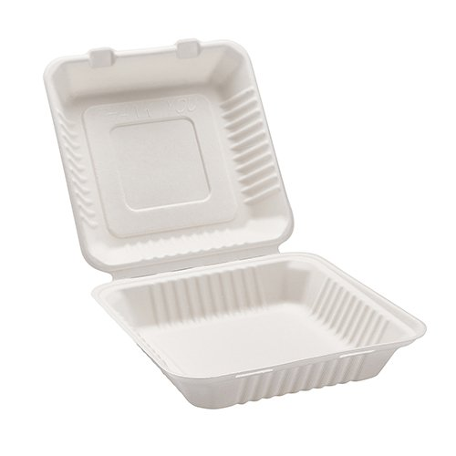 Morex Compostable Clamshell Hinged Food Container, 9 in. x 9 in. x 3.19 in, 200 Containers by Morex