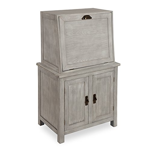 Kate and Laurel McIvory 2-Door Free-Standing Storage Cabinet with Pull Down Front Modern in Farmhouse Style, Distressed Gray Finish with Brass Metal Handles