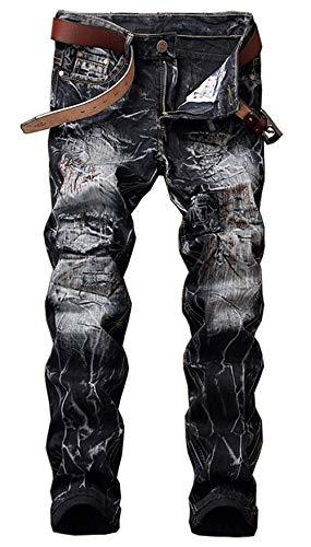 ADELINA Pantalones De Denim De Los Hombres Look Destruido Biker Pantalones Ropa De Mezclilla Elástico De La Vendimia Denim Hig Ripped Pantalones De Mezclilla Pantalones Casuales Negro