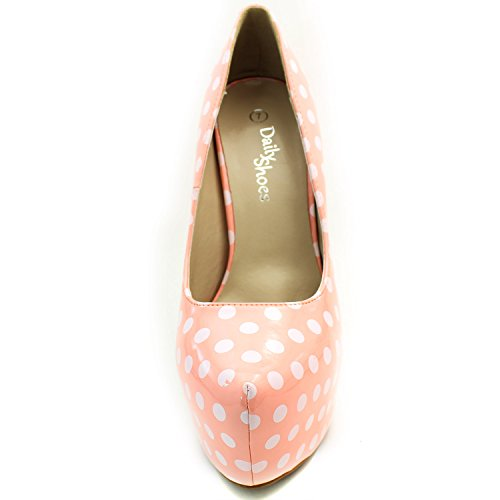 High Sexy Stiletto Heel Platform Fashion Pump Women's Dot Toe Pink PT Shoes Pointed Polka White Extreme High Hidden qfw8z0