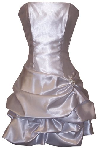Strapless Satin Bubble Dress Prom Formal Holiday Party Cocktail Gown Bridesmaid, XL, silver