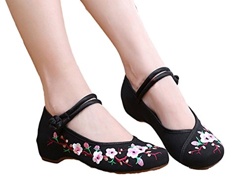 AvaCostume Embroidery Womens Classics Flats Rubber Sole Casual Shoes, Black1 ()