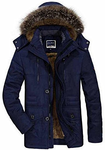 FGYYG Mens Winter Military Casual Hooded Fur Collar Thicken Cotton Coat with Removable Hood Middle-Long Faux Fur Lined Parka Jacket Uk7176-blue