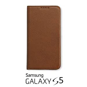 OnlineBestDigital - 100% Handmade Genuine Leather Flip Stand Case for Samsung Galaxy S5 - Brown with 3 Screen Protectors