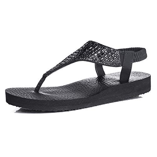 FITORY Womens Flip Flops Yoga Sling Rhinestones Flat Sandals Comfort Shoes Black]()