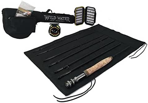 Wild Water Fly Fishing 5 Weight, 7 Piece Pack Rod and Reel Starter Package
