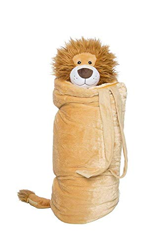 BuddyBagz Lion Brave Buddy, Super Fun & Unique Sleeping Bag/Overnight & Travel Kit for Kids, All in 1 Traveling-Made-Easy Solution Complete with Stuffed Animal, Pillow, Sleeping Bag & Overnight -