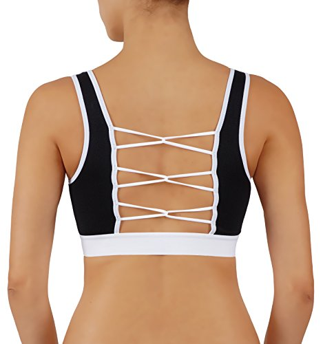 Vesi Star Women's Yoga Top Sports Bra Wirefree Removable Pads Strappy Loop Back with Full Support High Impact (M, VS615-BLK)