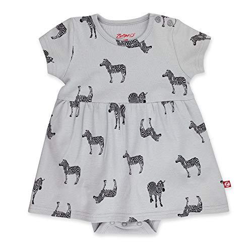 Zutano Baby Girl Organic Cotton Summer Dress, Gray Zebra/Romper, 12M