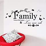 wuyyii Home Wall Decal Family Bird Butterfly Art Vinyl Quote Decal Home Art Mural Family Butterfly Design Decor Removable Sticker
