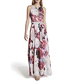 Women's Sleeveless Ruched Neck Chiffon Floral Gown