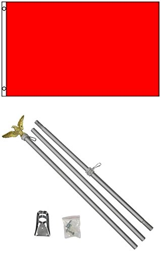 3x5 Solid Fire Engine Red Color Business Flag w/ 6' Aluminum