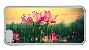 Hipster iPhone 5C cover thinnest pink lilies hd PC Transparent for Apple iPhone 5C
