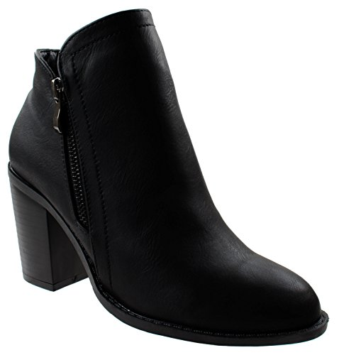 - Top Moda Shoes Women's Dave-8 Black Pointed Mid Block Heel Ankle Booties wtih Side Metallic Zip Stacked 5 D(M) US