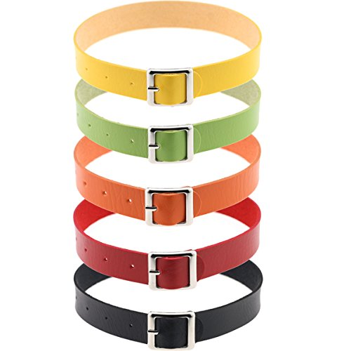Tpocean Harajuku Punk Leather Collar Choker Necklace Belt 5 Colors:Black,Red,Yellow,Green,Orange Choker for Men Women Girls