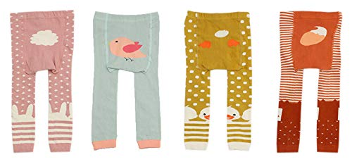 CHUNG Baby Toddler Boys Girls Cotton Footless Ankle Length Tights Soft Stretchy, 4pk Girl, 6-18M