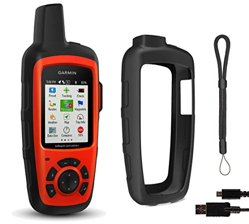 Garmin inReach Explorer+ Hiking GPS Bundle   with PlayBetter Protective Silicone Case & GPS Tether Lanyard   Belt Clip, Carabiner Clip   GEOS, Weather, Messaging