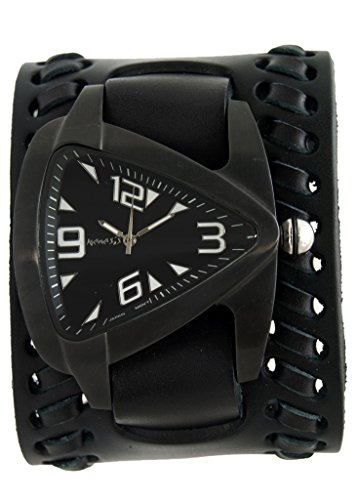 Nemesis Black Oversized Teardrop Watch with Faded Black Wide Weaved Vintage Style Leather Cuff Band, VBK061K