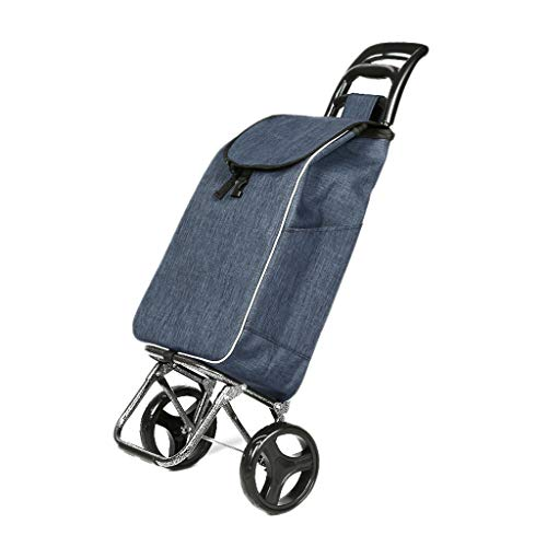 Zfusshop Shopping Trolley Fashion Portable Collapsible Trolley Trolley Removable wear Thick Steel Pipe Waterproof Cloth Supermarket,Warehouse,Grocery,Home,Outdoors (Color : Cyan)