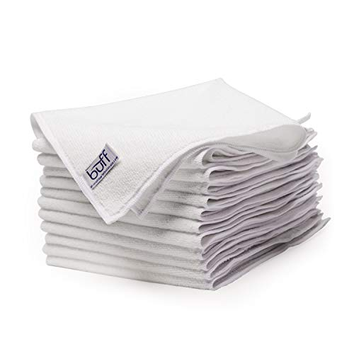 Buff Microfiber Cleaning Cloth | White (12 Pack) | Size 16 x 16 | All Purpose Use - Clean, Dust, Polish, Scrub, Absorbent