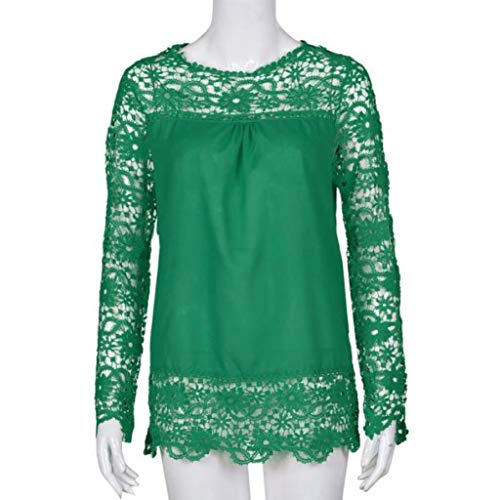 Women Plus Size Hollow Out Lace Splice Long Sleeve Shirt Casual Blouse Loose Top(Green,Medium) by iQKA (Image #1)