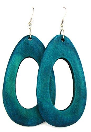 Wood Earrings – Wooden Earrings – Rasta Earrings – Big Wooden Handmade Earrings (Turquoise Oval Model)