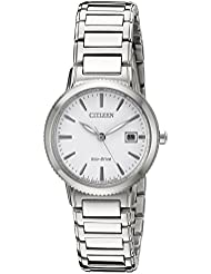 Citizen Eco-Drive Womens Sport Quartz Stainless Steel Casual Watch, Color: Silver-Toned (Model: EW2370-57A)