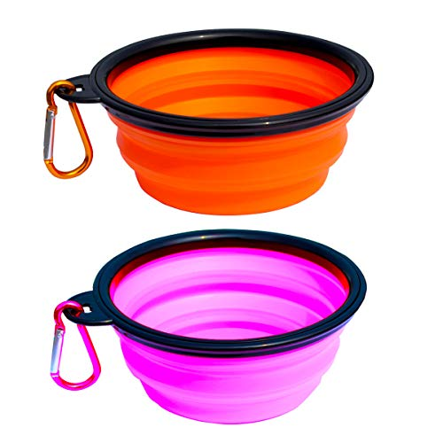 Collapsible Dog Bowl, 2 Pack Small Dog Travel Bowls for Pet Cats Dogs, Pet Feeding Watering Bowls for Hiking Camping Include 2 Carabiners (Pink/Orange)