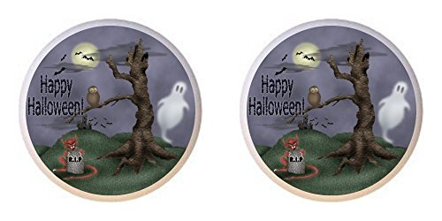 SET OF 2 KNOBS - Spooky Happy Halloween