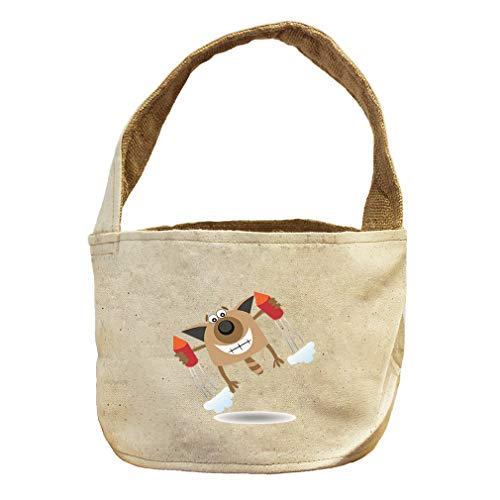Style in Print Squared Cat with Rockets Animals Canvas and Burlap Storage Basket by Style in Print