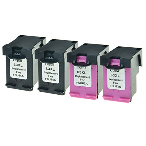 GREENCYCLE Hight Yield Ink Cartridge For HP 63XL F6U64A F6U63A Black and Tri-color Set - Black,2 Pack and Color,2 Pack