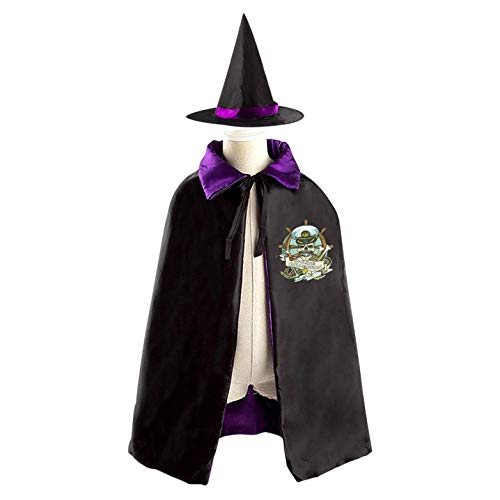 (69PF-1 Halloween Cape Matching Witch Hat Pirate Captain Wizard Cloak Masquerade Cosplay Custume Robe Kids/Boy/Girl Gift)